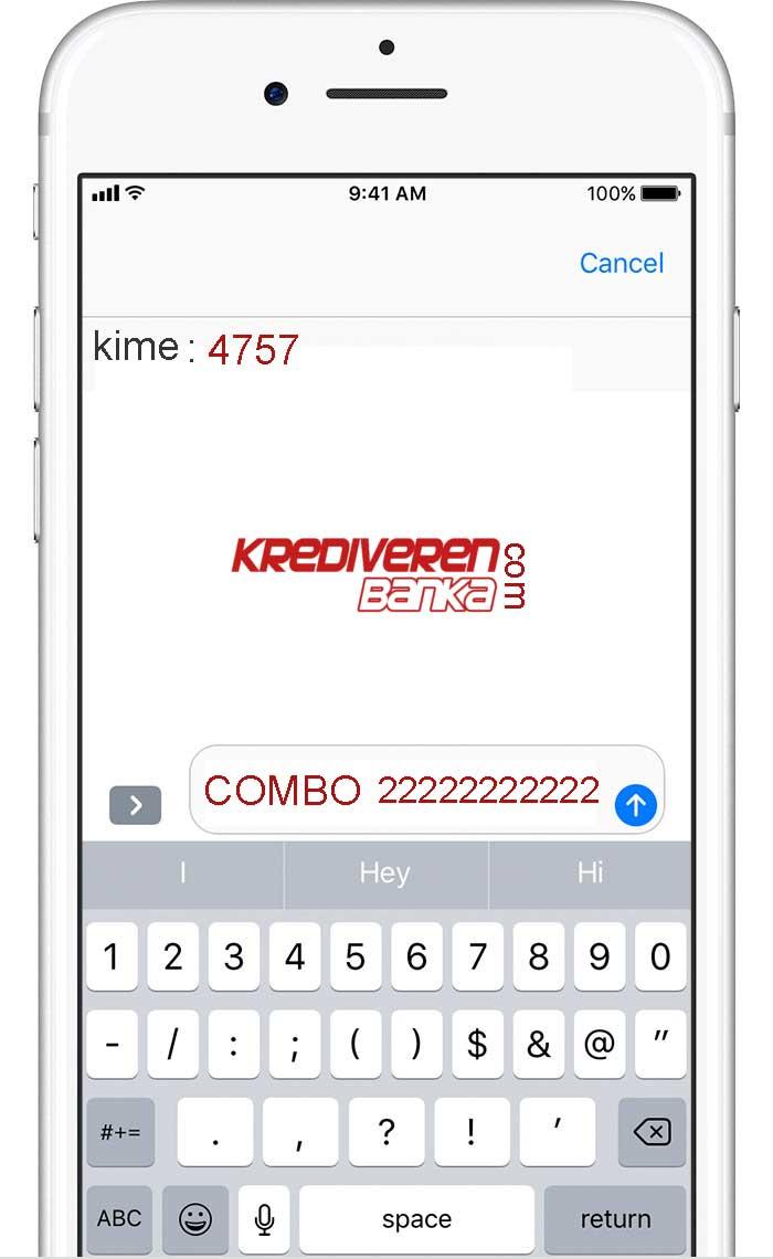 bankkart combo sms ile başvuru örnek ekran